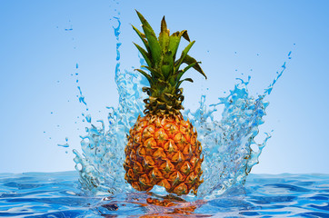 Pineapple with water splashes, 3D rendering