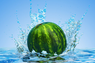 Watermelon with water splashes, 3D rendering