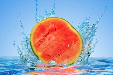 Watermelon cut in half with water splashes, 3D rendering
