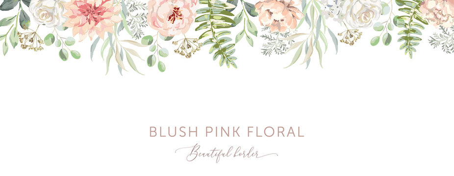 Delicate border of blush pink flowers, forest green leaves, white background. Wedding invitation banner frame. Rose, peony, fern. Vector illustration. Floral arrangement. Design template greeting card