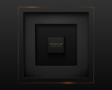 Vector black abstract square paper cut luxury frame. Premium label dark design background with geometric pattern element. Golden line frame. Papercut layered border
