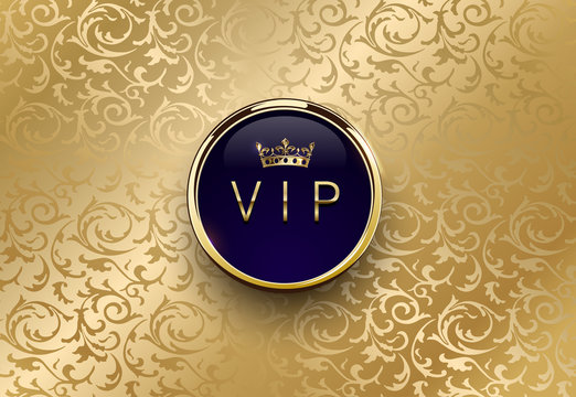 Vip blue label with round golden ring frame crown on gold floral background. Royal glossy premium template. Vector luxury illustration. Vintage invitation or announcement card design