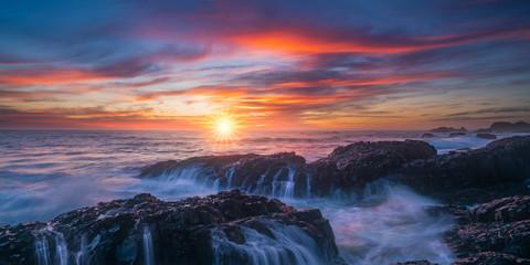 Panoramic sunset view of Oregon coast