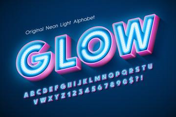 Neon light 3d alphabet, extra glowing modern type. Wall mural