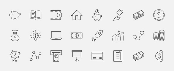 Set of Money Related Vector Line Icons. Contains such Icons as Money Bag, Piggy Bank in the form of a Pig, Wallet, ATM, Bundle of Money, Hand with a Coin and more. Editable Stroke. 32x32 Pixels.