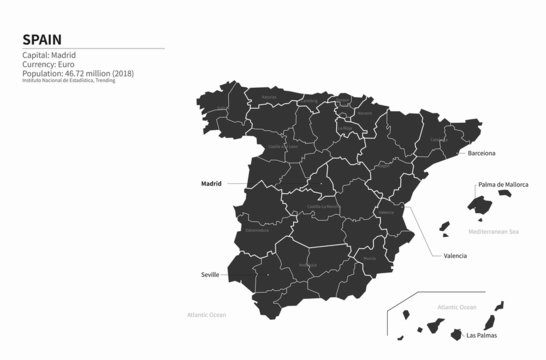 spain map. graphic vector of spain map. europe country map.