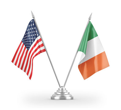 Ireland and United States table flags isolated on white 3D rendering