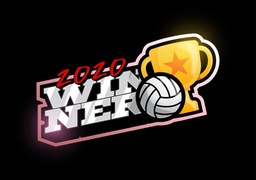 Winner 2020 volleyball vector logo. Modern professional Typography sport volleyball ball and cup in retro style vector emblem and template logotype design