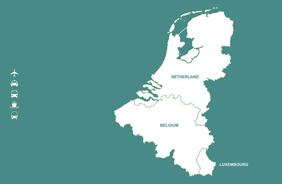 benelux countries map.  benelux map in north europe countries. netherland, belgium, luxembourg map.