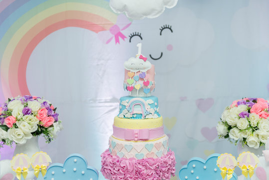 Girl themed birthday decoration with cute theme.