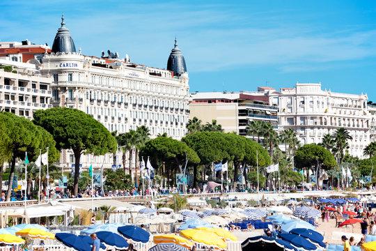 Cannes beach and Carlton International Hotel