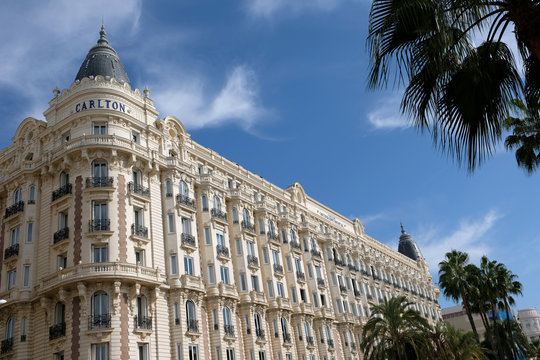 Cannes, France - October 25, 2017 : corner view of the famous dome of the Carlton International Hotel situated on the croisette boulevard in Cannes, France