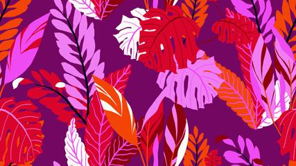 Botanical seamless pattern, various hand drawn leaves on purple