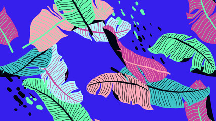 Botanical seamless pattern, hand drawn banana leaves on blue