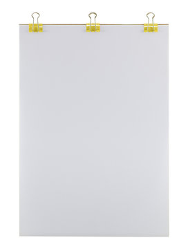 Empty clipboard papers with yellow binder clips. Clean and textured paper surface, isolated on white background.
