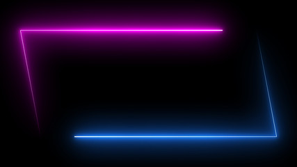 Parallelogram rectangle picture frame with two tone neon color shade motion graphic on isolated black background. Blue and pink light for overlay element. 3D illustration rendering wallpaper backdrop