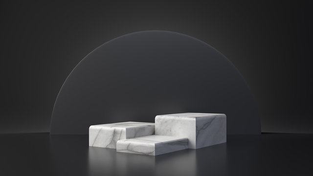 White marble product rectangle table stand on black background. Abstract minimal geometry concept. Studio podium platform. Exhibition and business presentation stage. 3D illustration render graphic