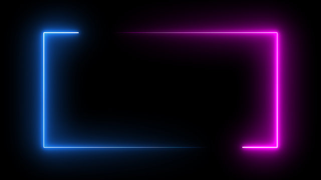 Square rectangle picture frame with two tone neon color motion graphic on isolated black background. Blue and pink light moveing for overlay element. 3D illustration rendering. Empty copy space middle