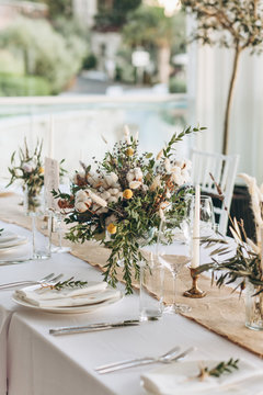 Table setting and decoration.