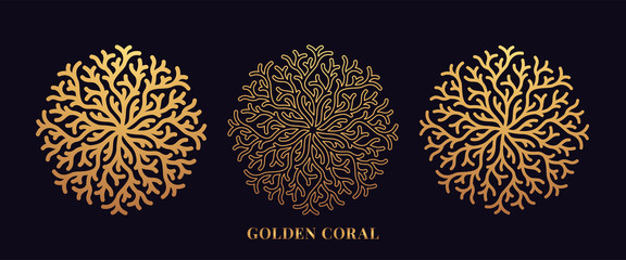 Golden reef coral by round shape. Third set of gold coralline silhouettes
