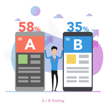 Vector concept of A-B split testing of two mobile app