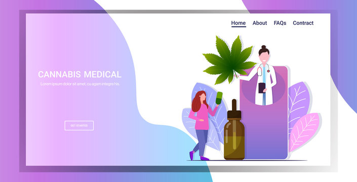 doctor in smartphone screen offering to patient cbd hemp oil extracted from marijuana plant medical cannabis online consultation concept horizontal copy space full length vector illustration