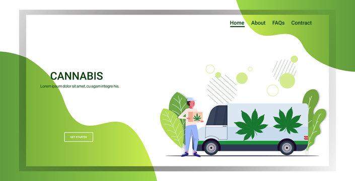 courier holding cardboard box near hemp truck cannabis delivery service drug consumption medical marijuana legalization concept horizontal full length copy space vector illustration