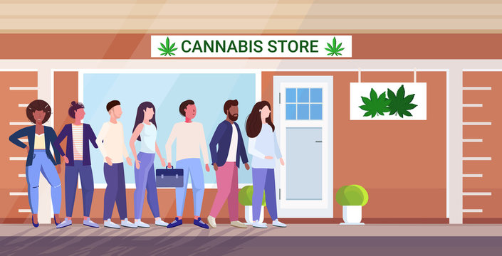 mix race people standing line queue to cannabis store marijuana organic shop cbd products weed purchase drugs consumption concept city street horizontal full length vector illustration