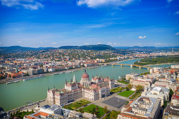 Parliament building on the Danube in Budapest