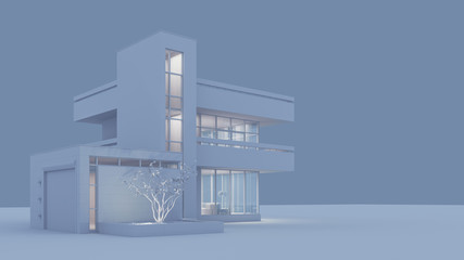 Modern house with a balcony and a high staircase, project in gray materials with night lighting and light from the windows on a gray background. 3D stock illustration.