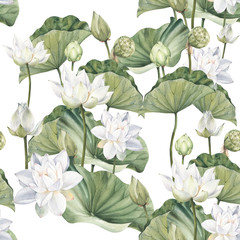 Fototapeta Hand drawn watercolor seamless pattern with white lotus flowers and lotus leaf obraz