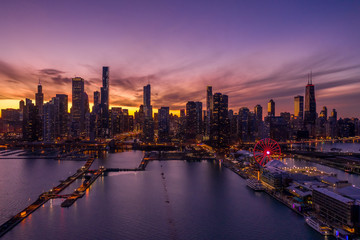 Fototapete - Chicago downtown buildings skyline aerial sunset Navy Pier