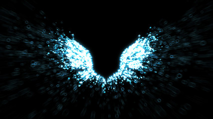 Angel wings - glowing white abstract wing shapes with particles streaming from the feathers - 3D generated illustration suitable for Christmas and Easter