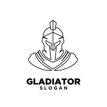 head gladiator line spartan logo icon design