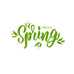 Hello spring hand lettering text as logotype, badge and icon, postcard, card, invitation, banner template. Special spring sale typography poster. Vector illustration.