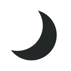 Crescent moon symbol icon. Half moon weather sign. Lunar logo. Black silhouette isolated on white background. Vector illustration image.