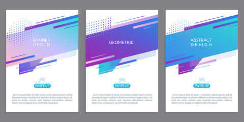 Modern cover design with abstract geometric shapes. Banner, poster, book cover, flyer or business brochure template with dynamic gradient graphic elements. Vector illustration.