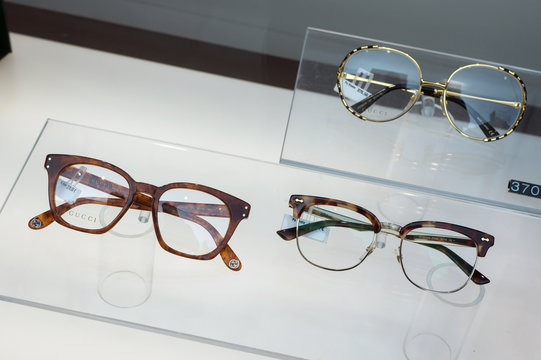Mulhouse - France - 9 February 2020 - Closeup of eyeglasses by Gucci in a optician store showroom