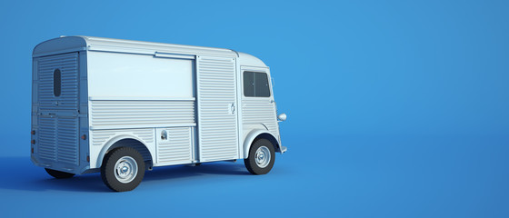 Vintage van blue background