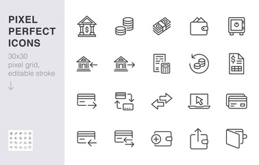 Finance line icon set. Money transfer, bank account, credit card payment cash back minimal vector illustration. Simple outline sign for online banking application. 30x30 Pixel Perfect Editable Stroke