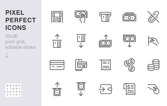 Atm machine line icon set. Withdraw money, deposit, hand taking cash, receipt minimal vector illustration. Simple outline signs for payment terminal application. 30x30 Pixel Perfect. Editable Strokes