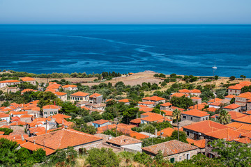 Fotomurales - Aerial view of greek town of Molyvos (Mithymna), Greece.
