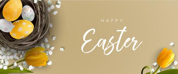 Easter greeting banner with Easter egg, bird nest, yellow tulip and white flower. Vector illustration.