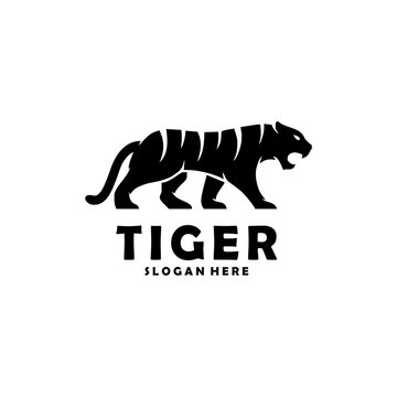 Abstract silhouette tiger walking concept illustration template