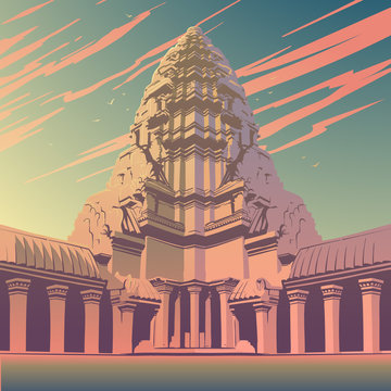 Centerpiece of the Angkor Wat temple complex in Cambodia representing the sacred Mount Meru of the Hindu religion. Sunset panorama. Vintage poster. EPS10 vector illustration