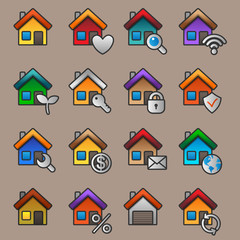 Flat color houses. Vector illustration.