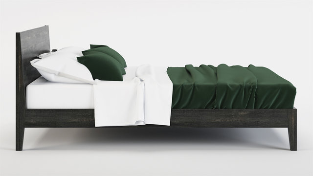 Bed isolated on white background. Clipping path included. 3D rendering.