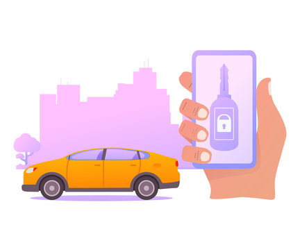 Smart car key security .The smartphone controls wireless auto.Vector illustration concept city skyline with skyscrapers.