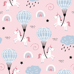 Childish seamless pattern with cute unicorn and air ballon.