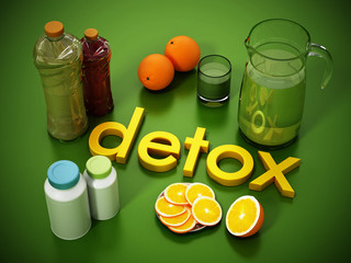 Detox concept with fresh juice bottles, pills and fruits. 3D illustration